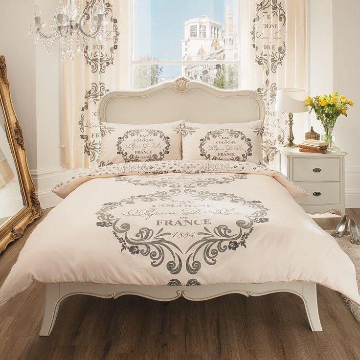 Paris Themed Bedding for Adults | Detalles de PARIS SCRIPT SINGLE DUVET COVER SET NEW BEDDING - CREAM