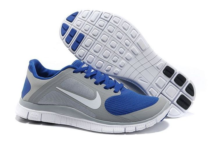 Heren Nike Free 4.0 V3 Loopschoenen Grijs/Blauw-Wit,Order popular and super sneakers here would bring you big surprise.