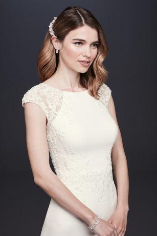 6127c50c88 Cap Sleeve Crepe Sheath Wedding Dress