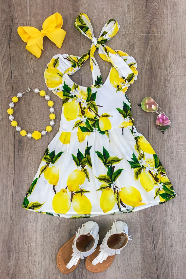 Yellow Lemon Halter Dress