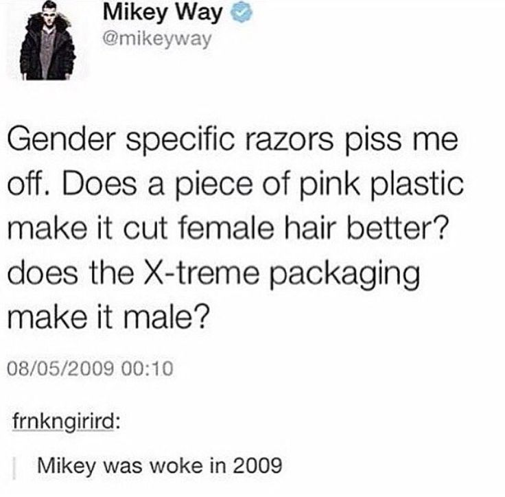 """i love that both Mikey and Gee are totally fucking intolerant of this """"gender-specific"""" bullshit"""