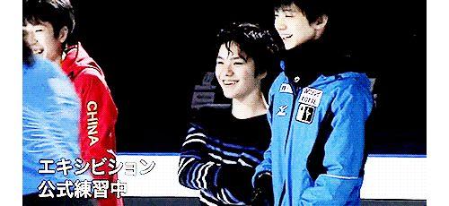 GPF 2015 - Boyang Jin, Shoma Uno, Yuzuru Hanyu laughing