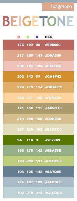 beige tones in hex and rgb