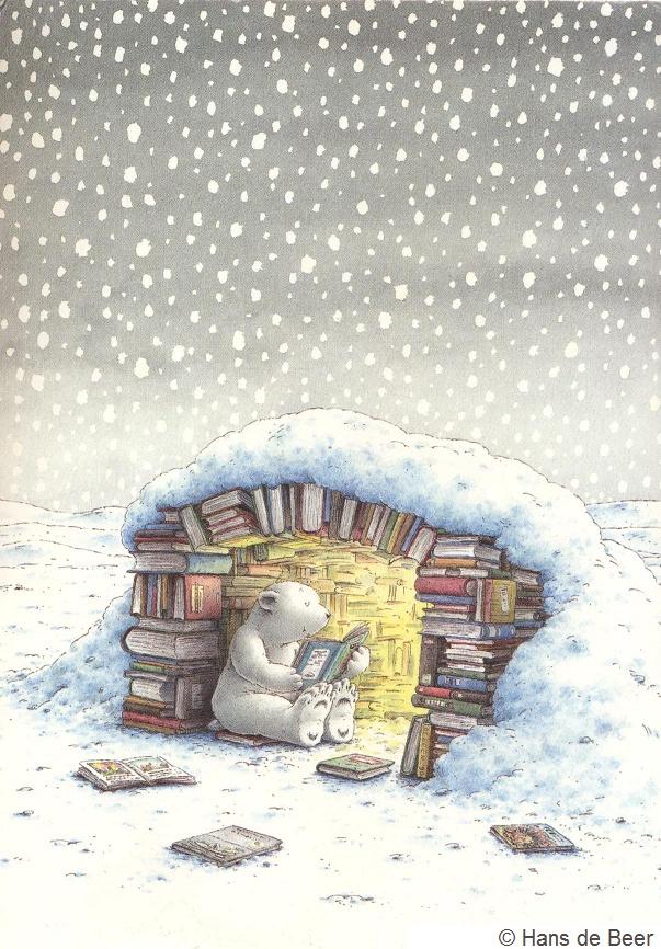 LITTLE POLAR BEAR - Lars Gets a Visit © Hans de Beer (Author, Artist. The Netherlands). Little Polar Bear book series. Reading, Book Igloo, Snow,