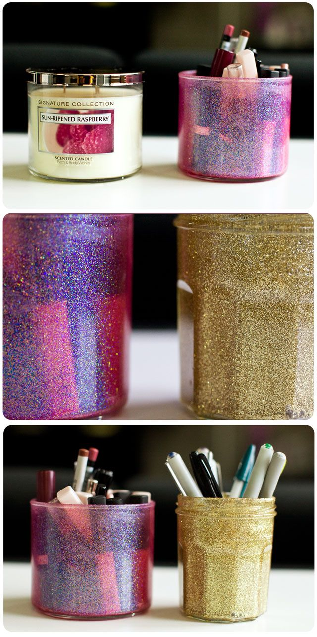 Repurpose almost empty candle jars by putting them in a pot with a little boiling water to melt the remaining wax. Then you can glitter, paint or decorate the jar as you please!