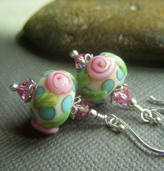Floral Lampwork Earrings on Sterling  Rose SRA by beadstylin