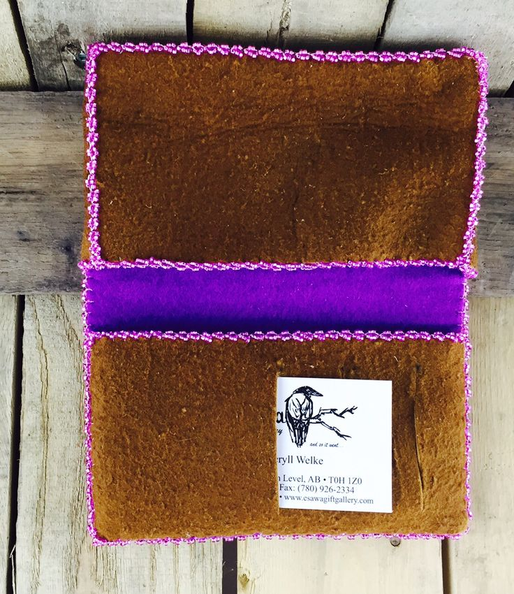 Iphone and card holder with purple lining and pink beaded trim. Holds up to an iPhone 6 #Esawa #Handmade #Beaded #Iphonecase