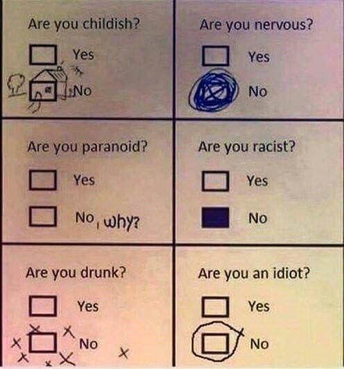 """Aktivieren Sie das Kontrollkästchen """"Nein"""" im Fragebogen, wenn Sie """"Ja"""" hätten aktivieren sollen"""