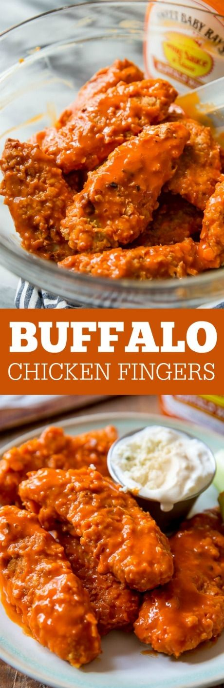 Easy, crispy, crunchy, and BAKED buffalo chicken fingers! Recipe on sallysbakingaddiction.com