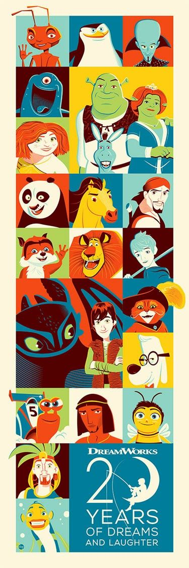 """20 Years of Dreams"" DreamWorks Animation 20th Anniversary Screen Print by Dave Perillo"