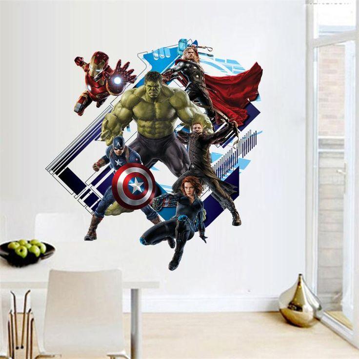 Мстители капитан америка супер герой стены стикеры детская комната декор y007. дома таблички мультфильм росписи крышка искусство пвх 4.0