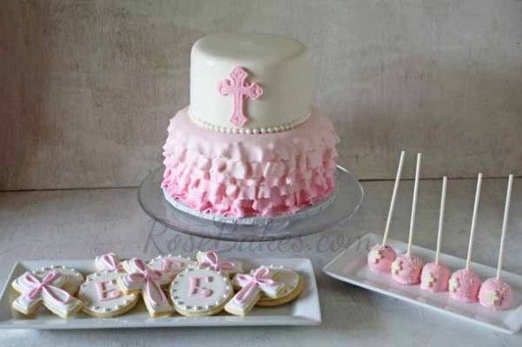 Baby Girl Baptism Cake, Cookies and Cake Pops - Rose Bakes