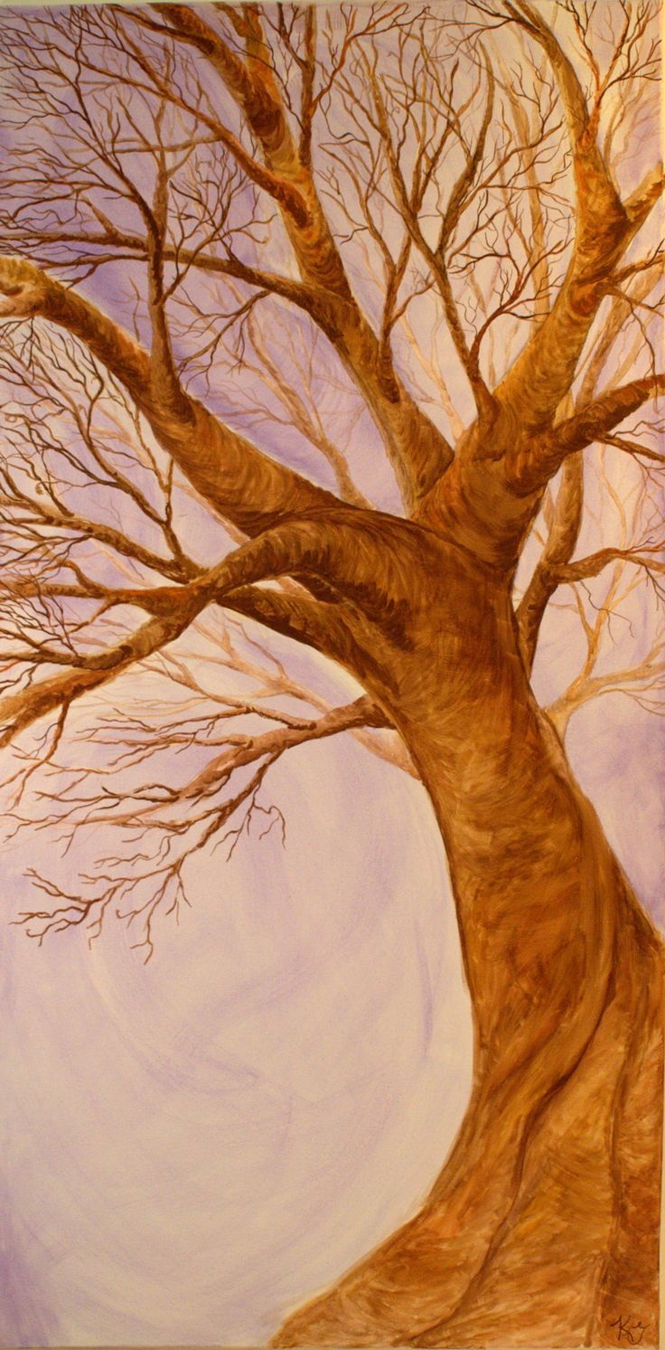 """Hand painted """"Purple Tree"""" water color on canvas. By: Katherine Granger"""