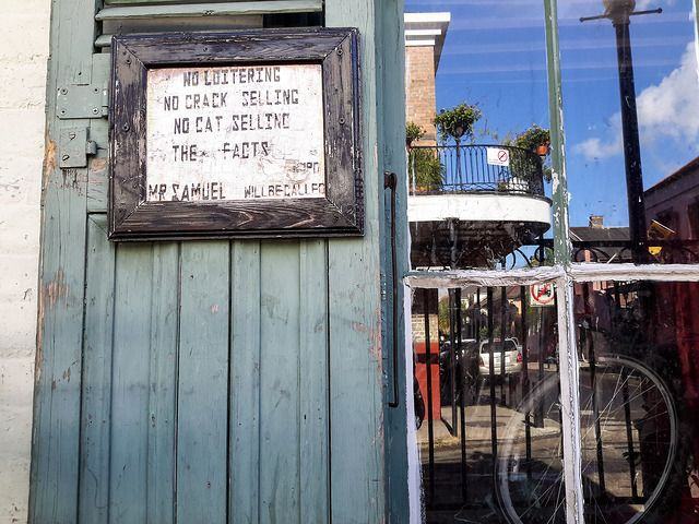 This sign made us laugh, New Orleans, rough, raw and ready for action
