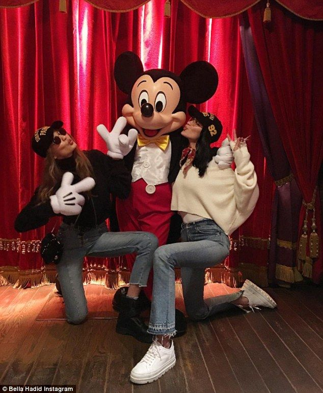 Taking the Mickey: The model daughters of former reality star Yolanda Foster and multi-millionaire property developer Mohamed Hadid shared their fun with fans via social media