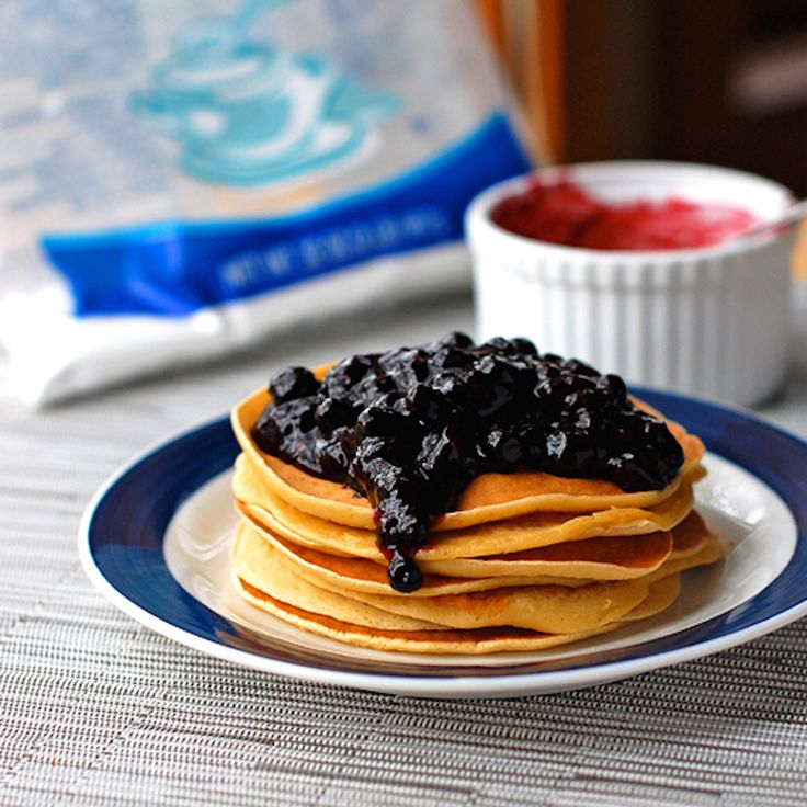 This easy blueberry sauce is made with fresh blueberries, sugar, vanilla, and corn starch. Thick, sweet, and perfect for topping pancakes. | pinchofyum.com