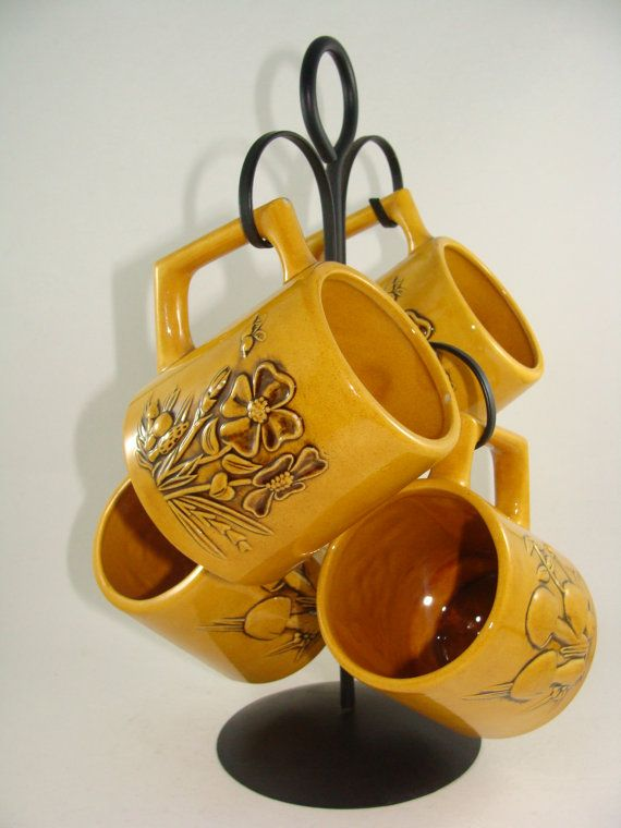 Vintage Set of Four Dark Yellow Mugs and by ElodieVintageHome, $23.00