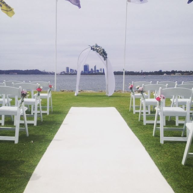 Outdoor Wedding @ South of Perth Yacht Club with the beautiful Swan River and Perth City as the back drop. www.sopyc.com.au