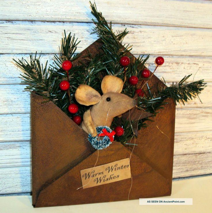 primitive mice creations | Primitive Folk Art Handmade Country Mouse Doll Christmas Rusty Tin ...