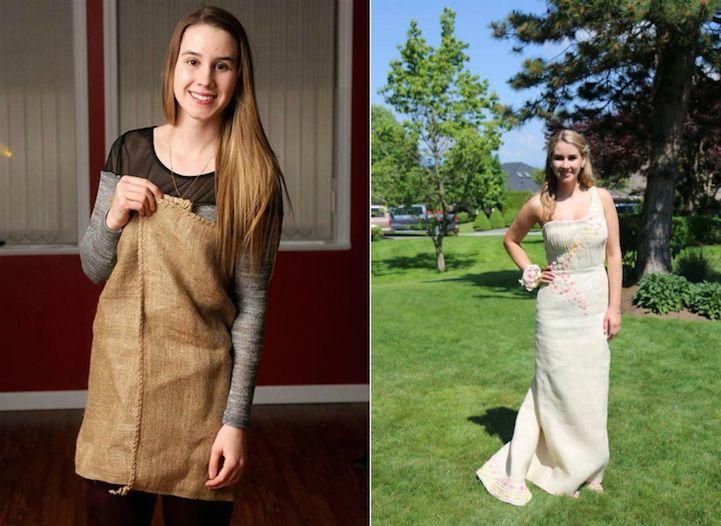 Jovem usa vestido de saco de batatas para arrecadar dinheiro para a caridade