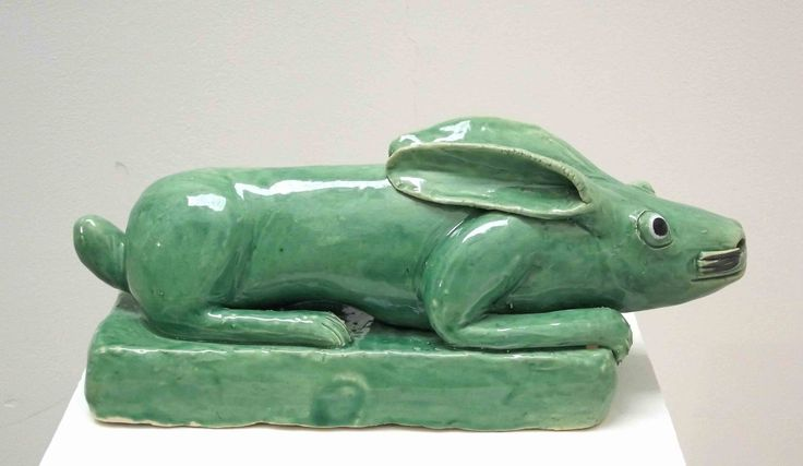 "An original ceramic work by Nico Masemolo entitled: 'Crouching Hare."" ceramic. #ceramic #FineArt #NicoMasemolo #Hare #GreenHare #SouthAfricanArt #SouthAfricanArtist For more please visit: www.finearts.co.za"