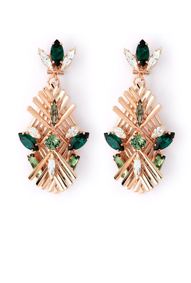 Exclusive Art Deco Crystal Drop Earrings by Anton Heunis