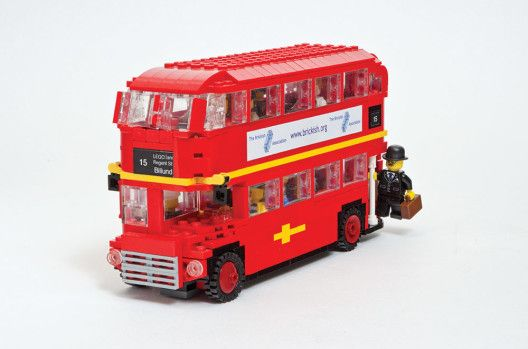 Iconic red double decker bus made out of LEGOS © Warren Elsmore