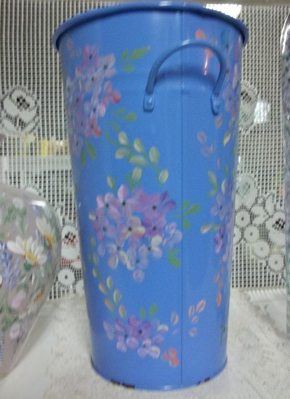 A Blue Floral Tin Hand Painted Original Design by FolkArtByNancy, $38.00