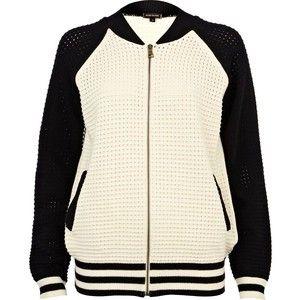River Island Black and cream mesh bomber jacket