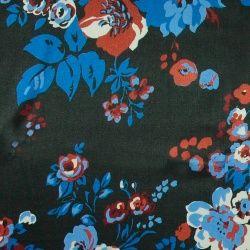 Stretch bomull/viscose svart m blomma