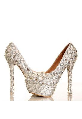 Luxurious Round-toe Rhinestones Platform Stiletto High Heel Wedding Shoes