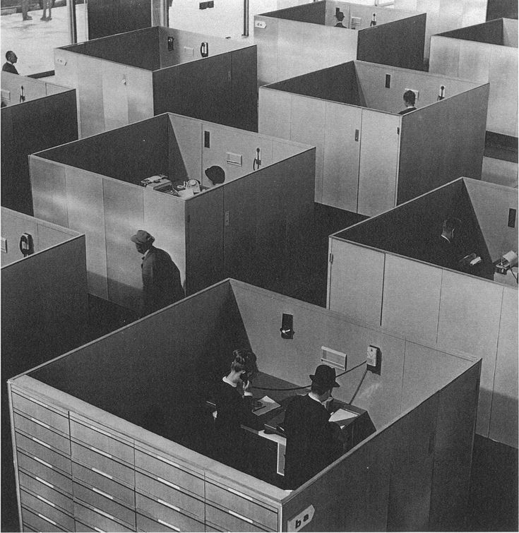 dystopia | office boxes from Playtime (1967) film by Jacques Tati  Ohhh good god, I'm sitting in one of those..