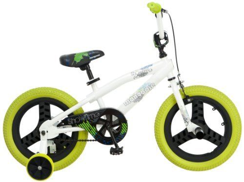 Mongoose Boy's Showtime Bicycle by Mongoose. $107.78. Amazon.com                Get your child started on the right foot with the Mongoose Showtime 16-inch boy's bike. A fun junior-sized ride, the Showtime is outfitted with such kid-friendly features as a tough freestyle frame, cool blue five-star mag wheels, a fully enclosed chain guard, and a handlebar safety pad. Mongoose also added a quick-release seat post to accommodate fast-growing kids and reinforced training w...
