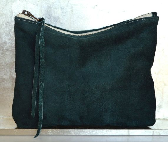 medium dk green suede leather pouch with snake brocade lining