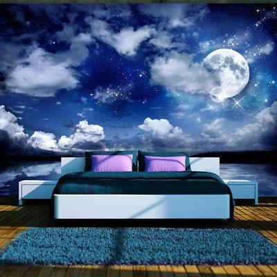 Fototapete himmel vlies tapete xxl wandbilder nacht mond for Wandbilder wohnung