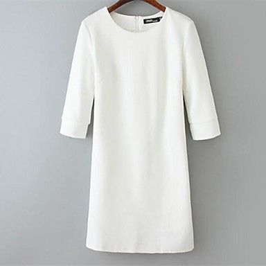 Women's Round Neck Dress , Polyester/Cotton Blends Above Knee Long Sleeve – GBP £ 22.29