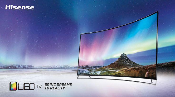 """LTDN55K720WTSEUX 55"""" LED TV Curvo Pantalla 4K UHD 3.840 x 2.160 SMR 800 Hz Netflix & WuakiTV Quad Core HEVC (H.265) DVB-T2/C/S #Hisense #LifeReimagined #LED #TV #HDMI #PVR #FullHD #Curve"""