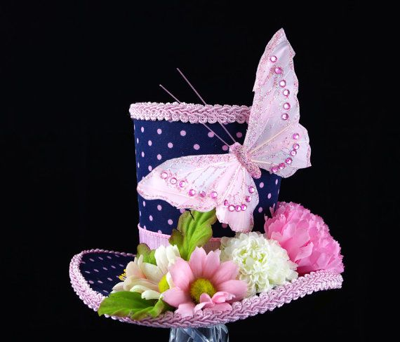 Navy and Pink Polka Dot Flower Butterfly Mini Top Hat Fascinator, Alice in Wonderland, Tea Party Hat, Mad Hatter Hat, Easter Hat, Bridal