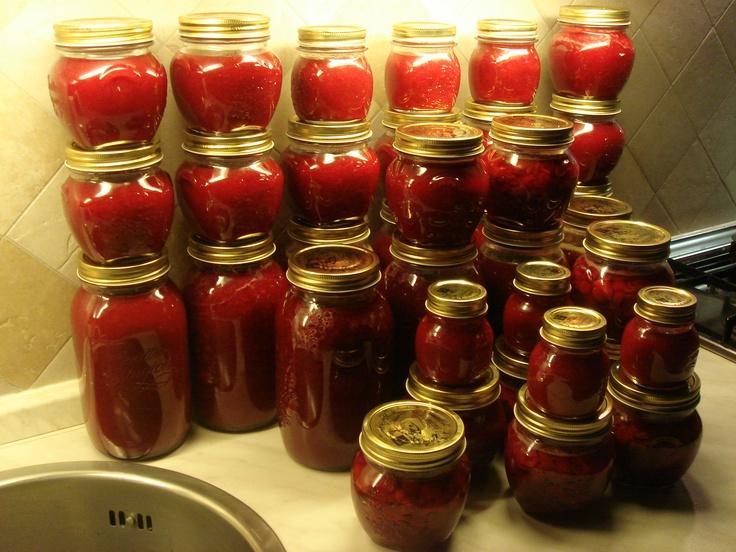 La mia marmellata di amarene. Istruzioni qui:  http://sandramaccaferri.blogspot.com/2010/06/amarene.html