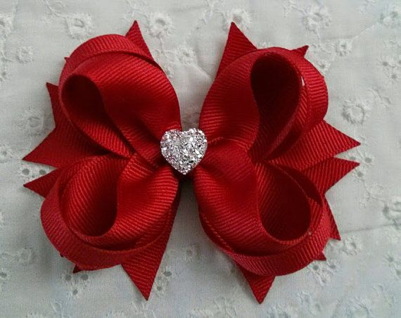 Red Boutique Hair Bow Girls Hair Bow Toddler Hair Bow