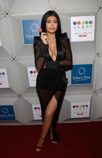 #KylieJenner attends the Sugar Factory opening in Miami on Friday.