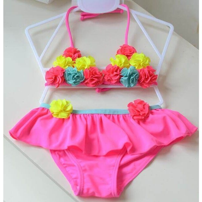Cute Baby Girl Floral Bow Halter Bikini Set Swimsuit Swimwear Bathing Clothes Sets