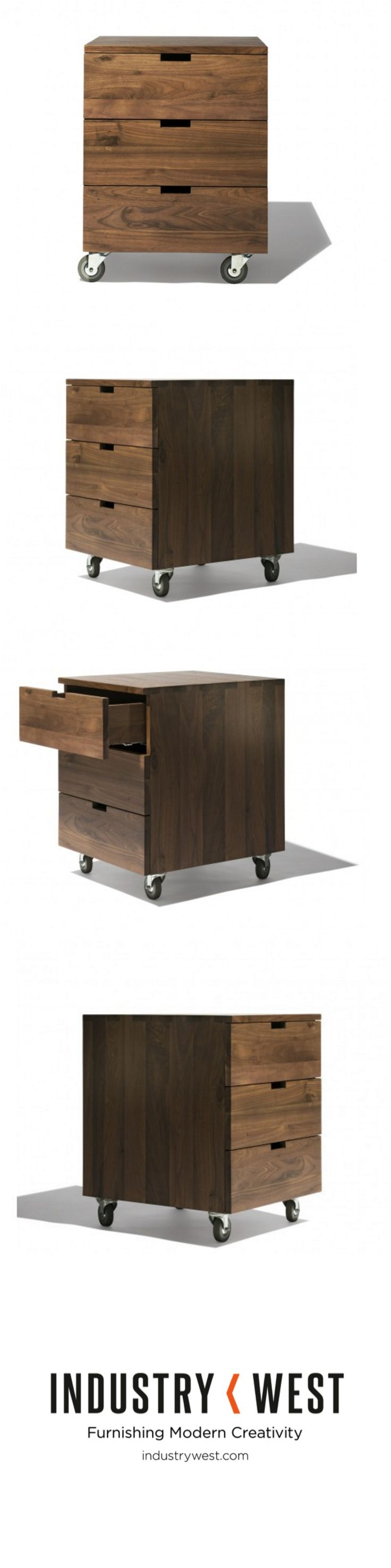 The Billy Box epitomizes simplicity, clean lines, and beautiful solid oak walnut wood. Meant to be the perfect addition to your office, work space or storage needs the Billy Box features rotating wheels for mobility. Three drawers feature hand crafted sleek glides for seamless movement.