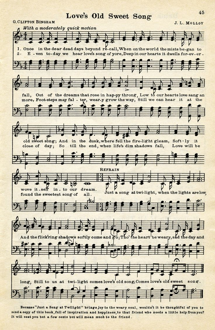 """Vintage Sheet Music """"Love's Old Sweet Song"""""""