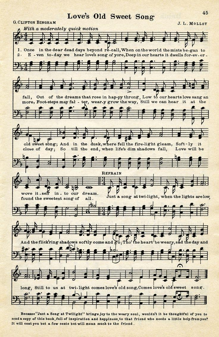 Old Design Shop ~ free digital image: Love's Old Sweet Song vintage sheet music