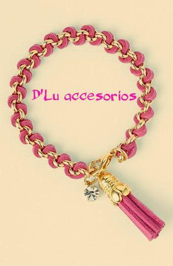 Pulsera de moda, rosa con cadenas @D'luaccesorios