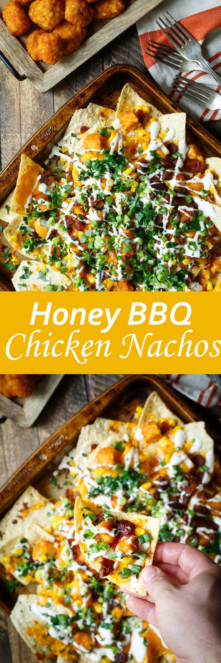 Honey BBQ Chicken Nachos recipe. A simple appetizer to make tonight.