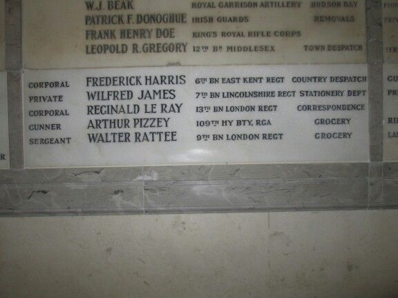 london harrods - WWI honour board for employees who served and died