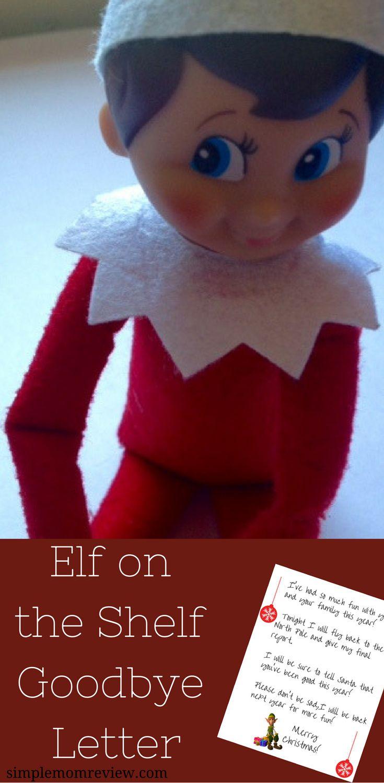 Elf on the Shelf Goodbye Letter. Free Printable.