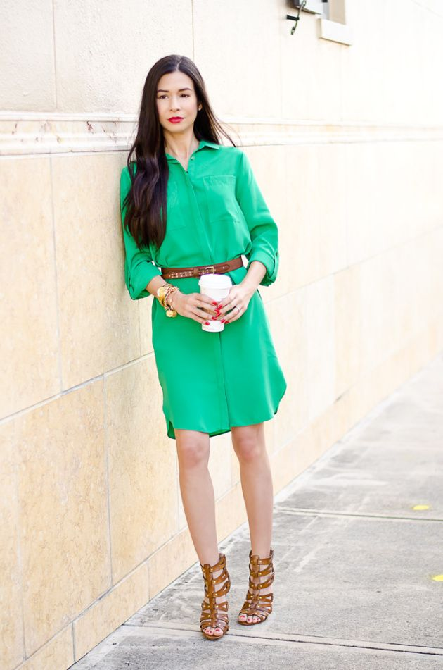 ootd-dorothy-perkins-green-shirt-dress-chinese-laundry-caged-high-heel-sandals-2 by @classifiedchic